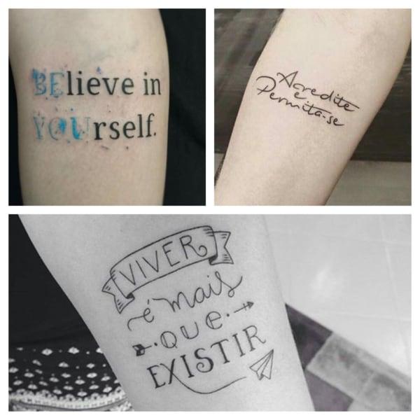 tatoo de frase no braço