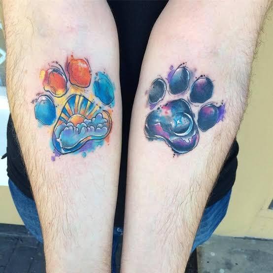 tattoo de pata de cachorro aquarela