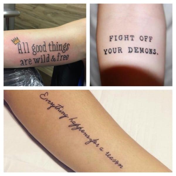 tatuagem de frase no braço em inglês