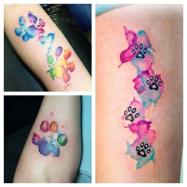 tatuagem de pata de cachorro aquarela