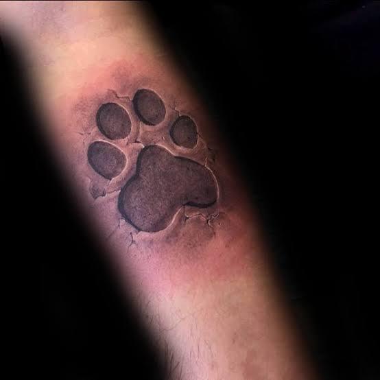 tatuagem de pata de cachorro no braço realista