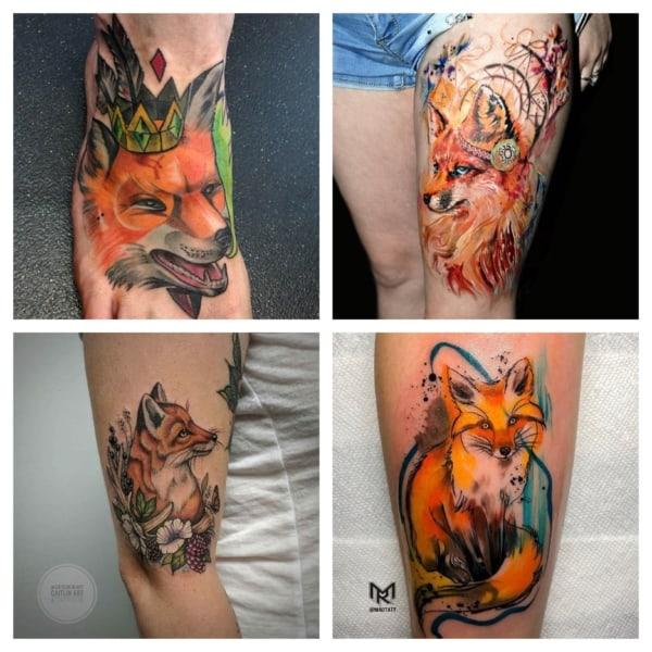 tatuagem de raposa colorida