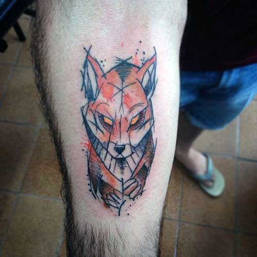 tatuagem de raposa masculina conceitual