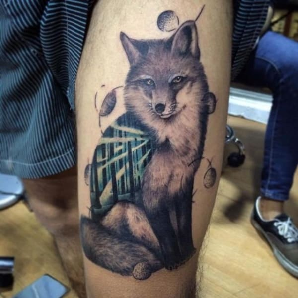 tatuagem de raposa masculina sombreada