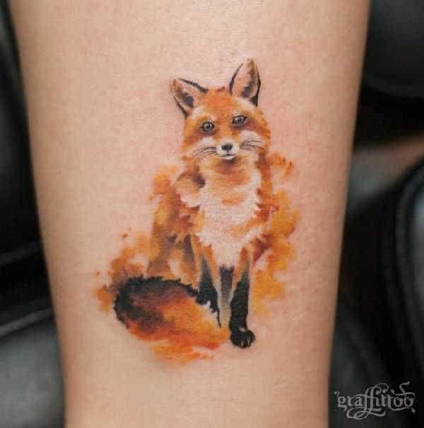 tatuagem de raposa no braço