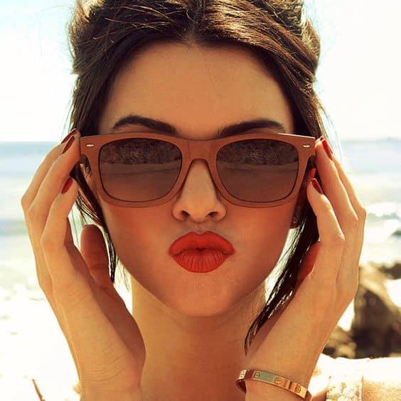 óculos de madeira feminino da moda