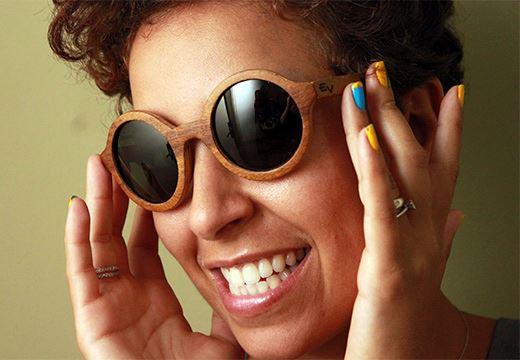 óculos de madeira feminino retro