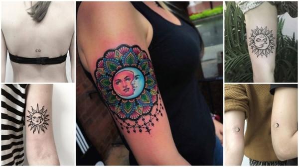 ideias de tatuagem de sol e lua