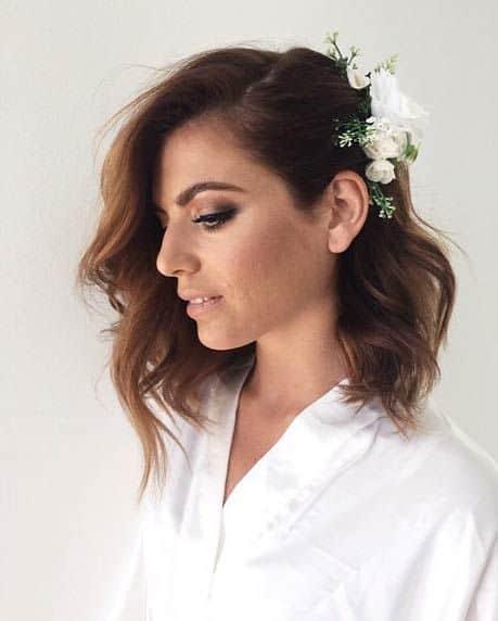 cabelo médio com babyliss para noiva