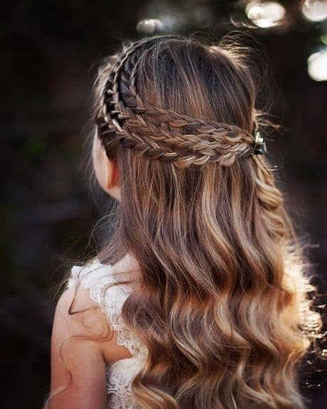 penteado infantil cabelo longo com trança