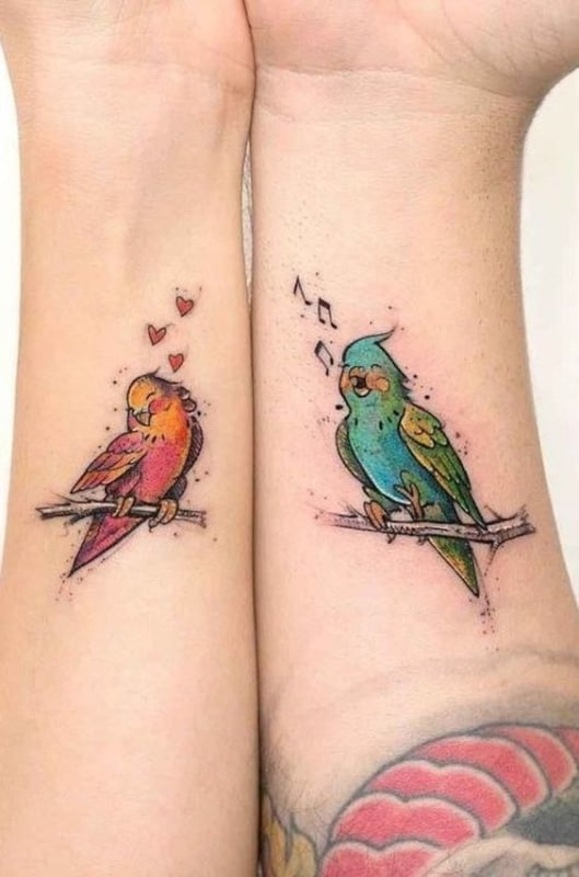 tatuagem de pássaros para casal