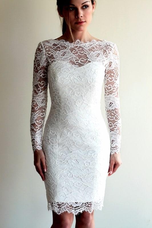 vestido de noiva tubinho com manga longa
