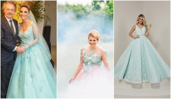 vestido de noiva azul tiffany