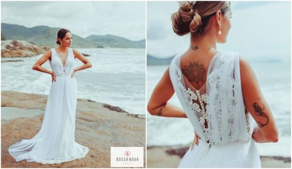 vestido de noiva longo em renda guipir