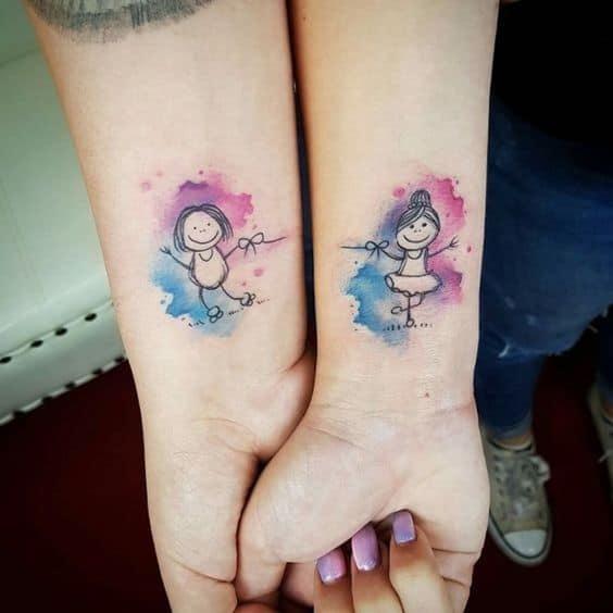tatuagem aquarela amigas
