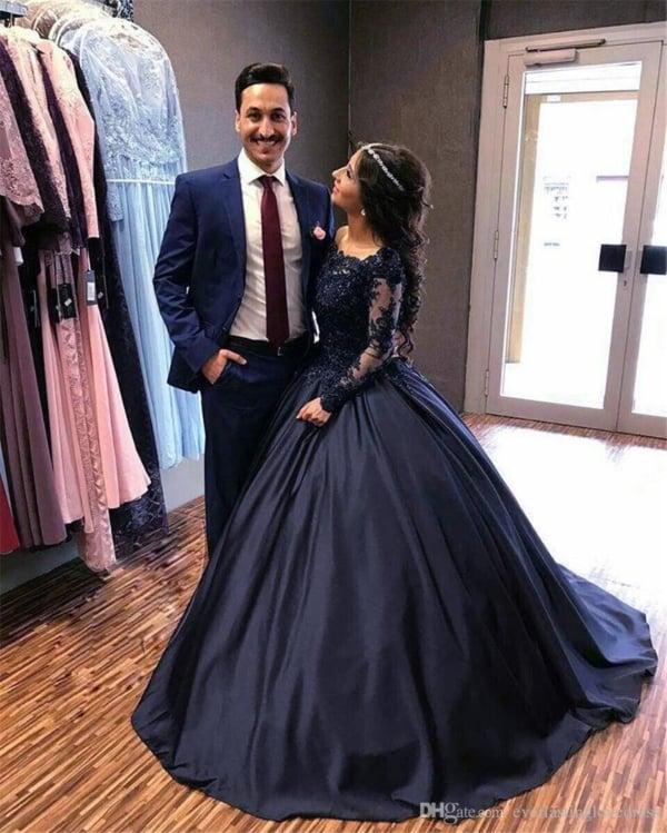 vestido de noiva princesa com mangas longas