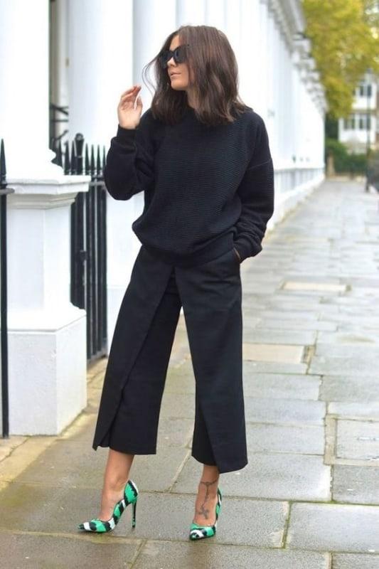 look pantacourt com suéter