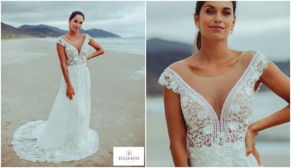vestido de noiva com cauda em renda guipure