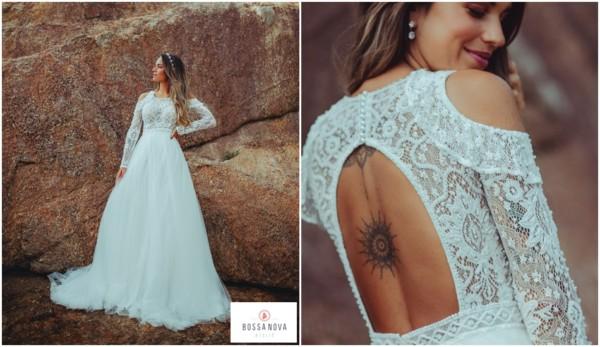 vestido de noiva princesa de renda com saia em tule
