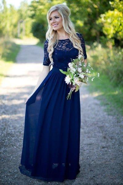 vestido de noiva simples azul marinho
