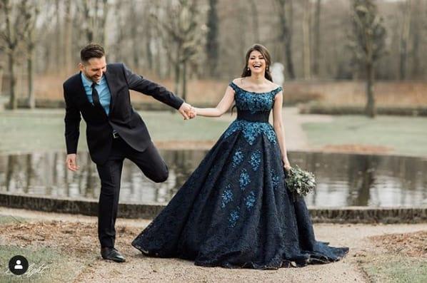 vestido de noiva rodado azul marinho