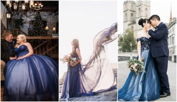 vestido de noiva azul marinho
