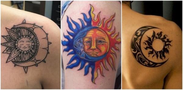 tatuagem de sol e lua no ombro