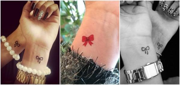tatuagem no pulso de laço