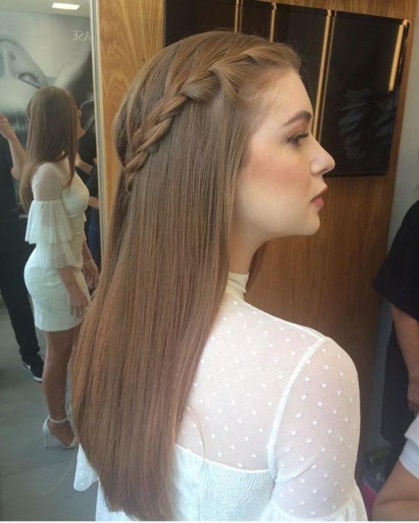 penteado de noiva cabelo liso com trança
