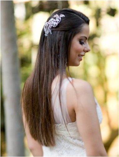 penteado simples para noiva de cabelo liso