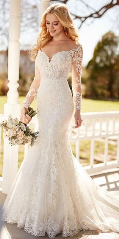 vestido de noiva sereia com mangas longas