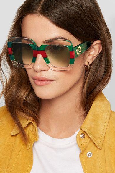 óculos de sol transparente e quadrado
