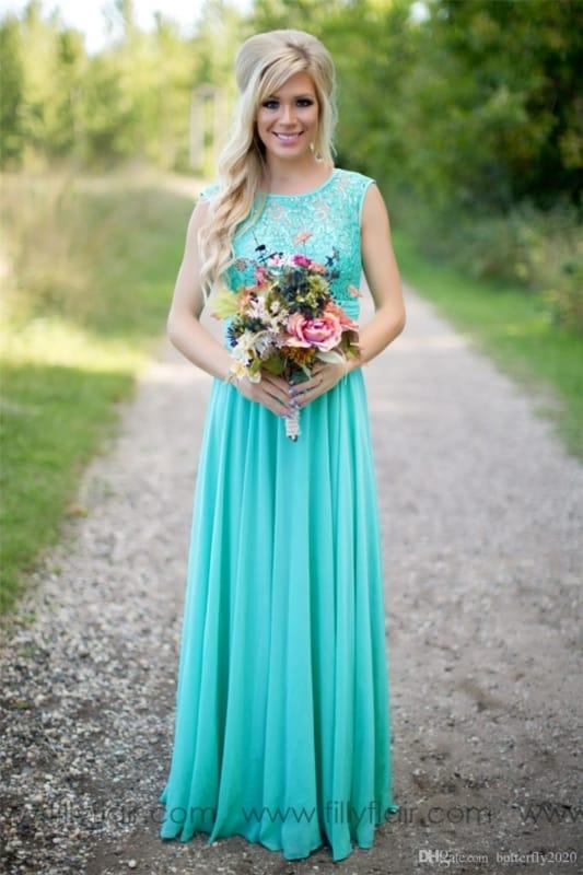 vestido de noiva simples turquesa