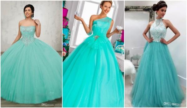 vestido de noiva azul turquesa