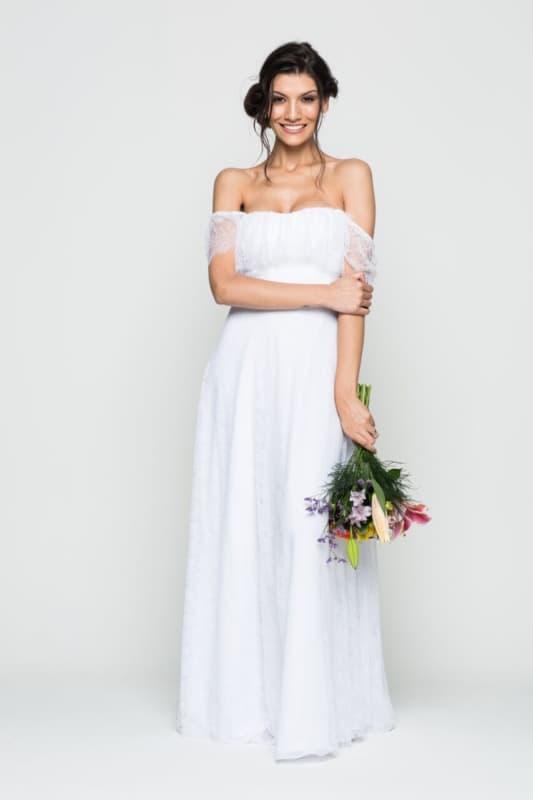 vestido ombro a ombro simples para noiva