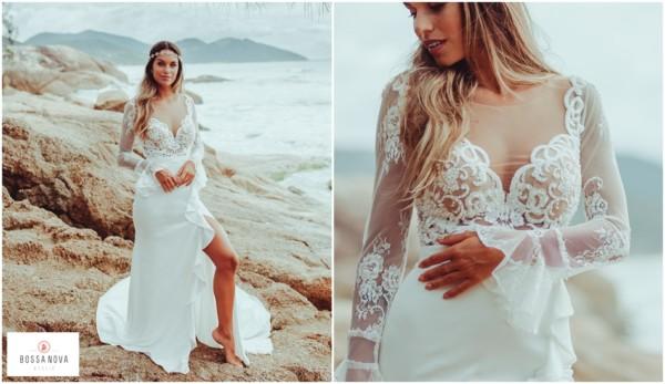 vestido de noiva com manga longa em renda francesa