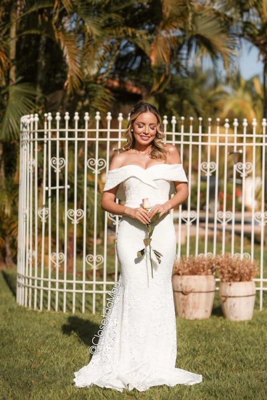 vestido de noiva simples e delicado