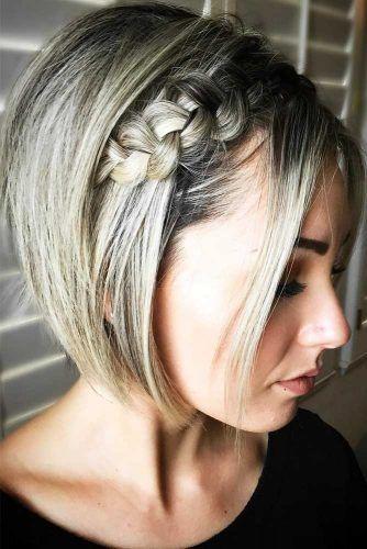 penteado solto com trança para cabelo curto