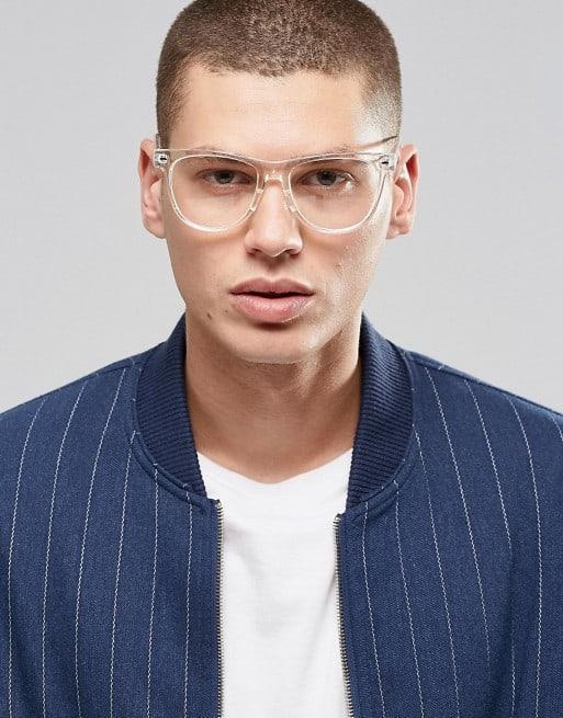 óculos com armação de acrílico transparente