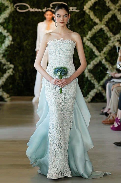 vestido de noiva azul com renda