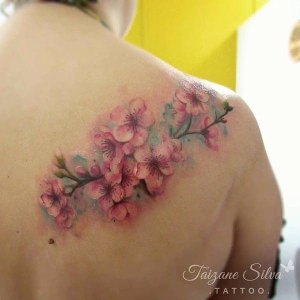 tatuagem aquarela de flor