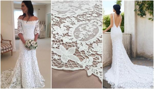 vestido de noiva de renda francesa guipure