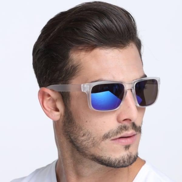 óculos masculino com lente espelhada azul