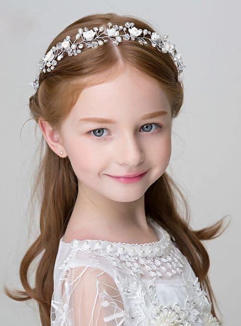 penteado infantil semi preso com tiara