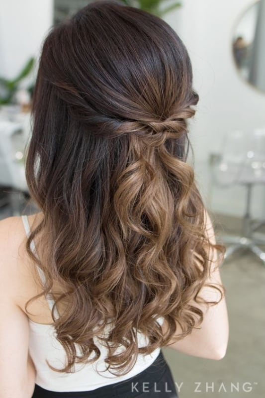 penteado semi preso para casamento de dia