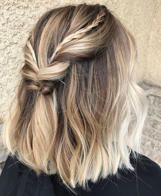 penteado simples semi preso