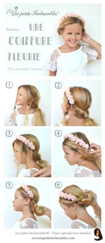 passo a passo penteado de daminha com flores