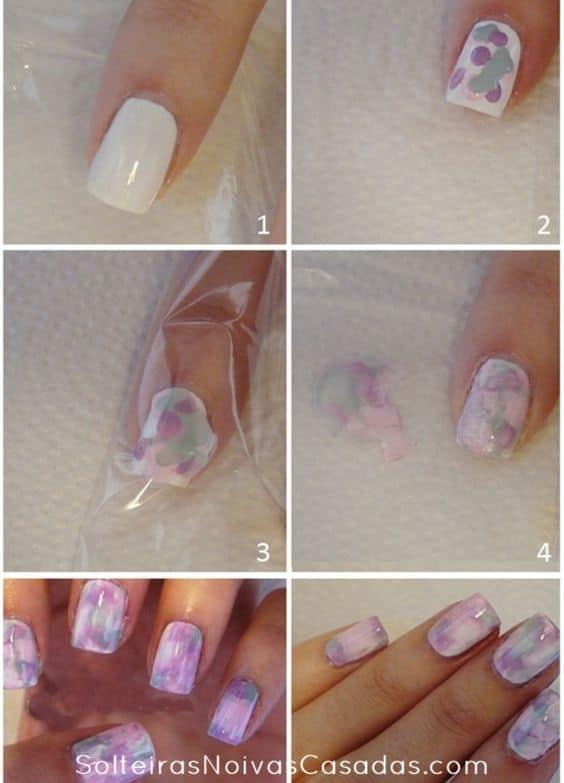 DIY unhas coloridas simples