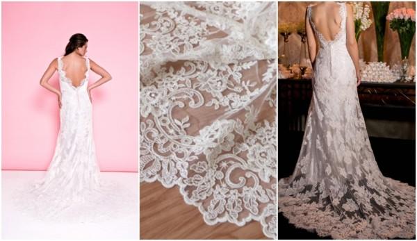 vestido de noiva de renda francesa alençon
