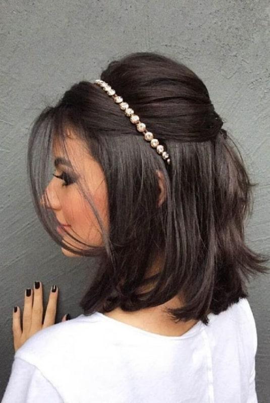 penteado cabelo liso e médio